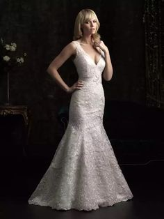 Beaded lace trumpet v-neck... I think this is exactly it! http://www.onewed.com/photos/show/gorgeous-2013-wedding-dress-by-allure-bridal-gowns-beaded-lace-mermaid