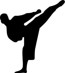 A karate athlete kicking. Free public domain image.