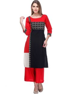 Melodic Red And Black Colored Flex Casual Kurti With Printed Work
