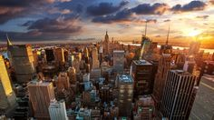New York City Skyline At Sunset Wallpaper