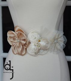 Vintage inspired sash /Double face Satin Ivory by Daniellasjewels, $58.95