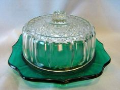 Vintage GREEN Pressed Glass Children's BUTTER DISH