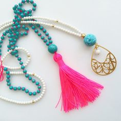 Turquoise tassel necklace. Neon Pink Tassel Necklace. Summer