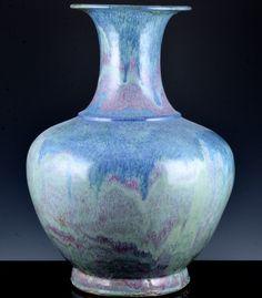 MONUMENTAL 18THC CHINESE QIANLONG ROBIN'S EGG BLUE RED FLAMBE GLAZED PALACE VASE Vase Centerpieces, Bud Vases, Flower Vases, Flowers, Round Vase, Clear Glass Vases, Robins Egg, Glaze, Chinese