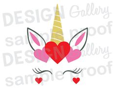 Unicorn Face - JPG, png & SVG, DXF cut file, Printable Digital cards note, hearts, valentine valentines day be mine magical - Instant Download
