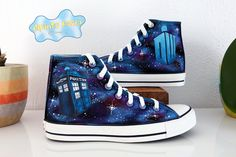f90efbf4547d Doctor Who DW Tardis Galaxy Hand Painted Custom Shoes. Etsy