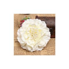 Bridal Headpieces Fabric Peony Flower Hair clips Corsage Brooch (£3.14) ❤ liked on Polyvore featuring accessories, hair accessories, beige, bridal flower hair clip, barrette hair clips, bride hair accessories, bridal flower hair accessories and flower hair clip