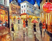 "Paris street. Evening.  - Original Contemporary Oil Painting on canvas by Dmitry Spiros. Size: 24""x32"""