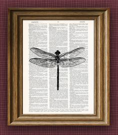 DRAGONFLY beautifully upcycled vintage dictionary door collageOrama, $6.99