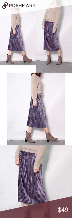 ‼️NEW IN‼️Pleated velvet midi skirt (Purple) Pleated velvet midi skirt (Purple) Fall statement piece!! Great for partiesit comes with 2 colors - Sea Blue and Purple Dresses Midi