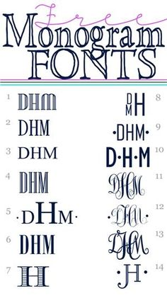 Free Monogram Fonts *** Don't miss this one! *** Easy Links to 14 free fon… Free Monogram Fonts *** Don't miss this one! *** Easy Links to 14 free fonts that are great for monograming! Fancy Fonts, Cool Fonts, Fuentes Silhouette, Gratis Fonts, Free Monogram, Cricut Monogram Font, Initial Fonts, Fonts For Monograms, Monogram Gifts