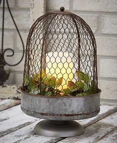 The Oversized Chicken Wire Cloche adds some farmhouse flair to any centerpiece or table decoration. It features a rustic chicken wire cover with a galvanized pedes home decor pieces that won't breat the budget home accents Farmhouse Style Kitchen, Country Farmhouse Decor, Modern Farmhouse Kitchens, French Country Decorating, Farmhouse Garden, Country Primitive, Cloche Decor, Diy Home, Home Decor