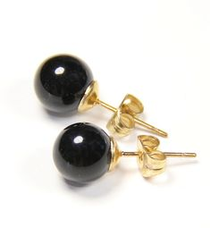 bfb23d156 Natural Black Onyx Gemstone 14k Yellow Gold Filled Stud Earrings 8mm