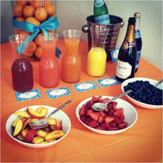 mimosa bar! Love this idea for the morning of a wedding getting ready with bridesmaids!