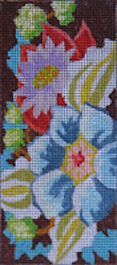 Flower Insert (LEE05) is a needlepoint canvas insert for a wallet or checkbook cover by Colors of Praise available from the Needle Nook of La Jolla.