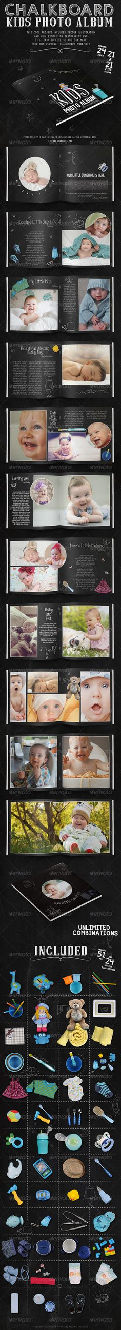 Kids Chalkboard Photo Album - Photo Albums Print Templates