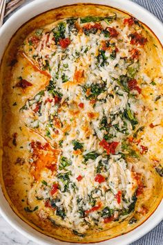 Creamy Chicken Bake Recipe with Spinach and Sun-Dried Tomatoes – Chicken Bake Recipe — Eatwell101 Healthy Low Carb Recipes, Clean Recipes, Cooking Recipes, Easy Homemade Recipes, Slow Cooker Recipes, Keto Recipes, Dinner Recipes, Spinach Recipes, Salmon Recipes