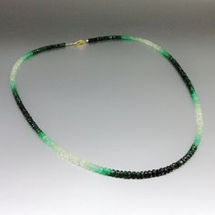 Check out Ombre necklace of shaded green Emerald with 14K gold - gift idea on gemorydesign