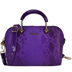 Sally Young Crocodile Grain Handbag with Bottom Metal Detail - Purple, £39.99 @ www.simplylb.co.uk