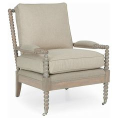 Shop the CR Laine Spool Modern Classic Natural Linen Detailed Driftwood Frame Arm Chair and other Living Room Chairs at Kathy Kuo Home Beach House Furniture, Cottage Furniture, Coastal Furniture, Coastal Decor, Custom Furniture, Home Furniture, Coastal Curtains, Coastal Rugs, Coastal Cottage