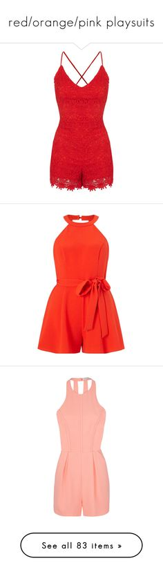 """""""red/orange/pink playsuits"""" by lulucosby ❤ liked on Polyvore featuring jumpsuits, rompers, romper, dresses, playsuits, red, red rompers, lace romper, fancy jumpsuits and lace jumpsuit"""