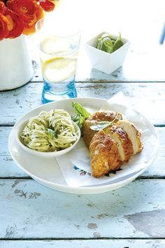 crusted chicken breast with pesto pasta more food recipes chicken ...