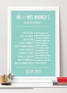 personalised recipe for happiness print. by i love design   notonthehighstreet.com