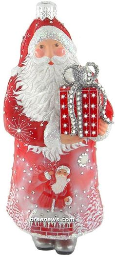 Presenting (Red, Christmas Night) Patricia Breen Designs (Moons, Pearl/white, Pine Trees, Red, Santa, Sculpture Adornment, Snowflakes)