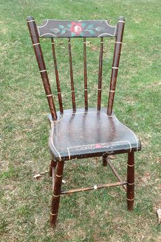 Vintage Hand Painted Wood Chair Tole Painted By WildBoarDesigns