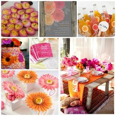 """Orange & Pink Bridal Shower. Not the pink, but if we do an """"orange"""" theme"""