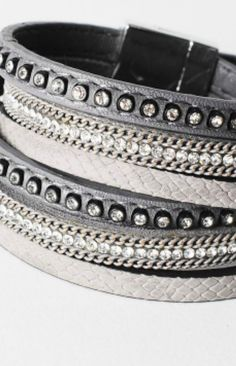 Silver Faux Double Wrap Leather Rhinestone Magnetic Bracelet – Piper and Hollow