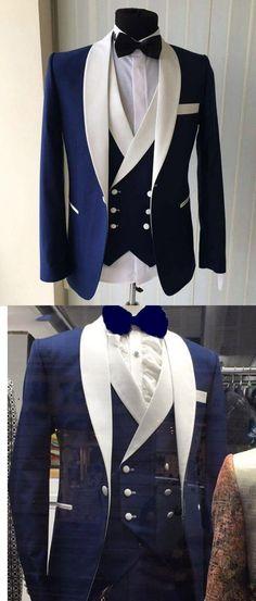Blue/White Groomsmen Suit Men's Wedding Tuxedo Three Pieces (Jacket+pants +vest) blue prom suit Mens Fashion Suits, Fashion Outfits, Mens Suits Style, Suit Styles, Costume Smoking, Herren Style, Designer Suits For Men, Look Man, Tuxedo Suit