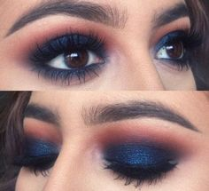 Eye makeup, navy blue eyeshadow, blue eyeshadow makeup, blue makeup looks. Blue Eyeshadow Makeup, Hooded Eye Makeup, Eye Makeup Tips, Smokey Eye Makeup, Navy Blue Eyeshadow, Navy Eye Makeup, Makeup Indian Skin, Makeup Hacks, Blue Lipstick