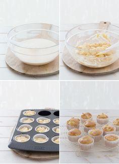 ☆☆☆☆☆☆Magdalenas de manzana, bajas en calorías  80g harina 1/2 sobre de levadura química (tipo royal) 3 cucharadas edulcorante Truvia 1 cucharada de leche desnatada Pizca de sal 2 huevos 1 cucharada aceite de girasol o oliva muy suave 2 manzanas 3 cucharaditas azúcar glas