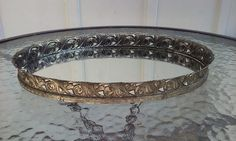 "Vtg 12"" Goldtone Vanity Table Top Oval Decorative Metal Mirror Tray"