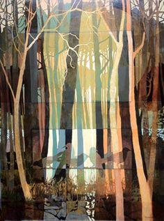 "Evening shadows. Judith Bergerson. 30""x 40"", acrylic, colored pencil on canvas"