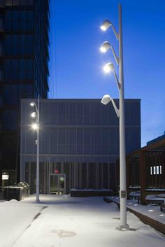 Tridel 300 Front Street West. #Designbuild with Tridel and Litemode. Olivio poles by Selux. #landscape #lighting #design