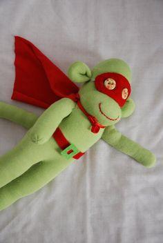 superhero sock monkey, green sock monkey, stuffed animal - green super hero