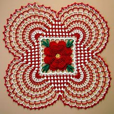 Crochet Flowers Patterns BellaCrochet: Country Christmas Doily: A Free Crochet Pattern For You Free Crochet Doily Patterns, Christmas Crochet Patterns, Holiday Crochet, Crochet Home, Crochet Motif, Crochet Crafts, Crochet Projects, Free Pattern, Crochet Dollies