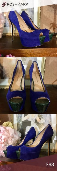 """JEAN-MICHEL CAZABAT KID SUEDE PLATFORM STILETTOS BRAND: JEAN-MICHEL CAZABAT  TYPE: PEEP TOE, STILETTO PLATFORM, KID SUEDE SHOES WITH A CUSHIONED LEATHER INSOLE. NAMED """"ZAZA"""" FEEL FREE TO GOOGLE!  COLOR: COBALT BLUE WITH SNAKESKIN GREEN ACCENT AND BLACK GLOSSY HEEL  SIZE: EURO 40.5 APPROX 10-10.5 US CLOSER TO 10  APPROXIMATE MEASUREMENTS: 5IN HEEL, 2IN PLATFORM SO 3IN EQUIVALENT  FABRIC CONTENT: KID SUEDE  CONDITION: EUC BARELY WORN. INFO TAG STILL ATTACHED TO SOLE. Jean Michael Cazabat Shoes…"""