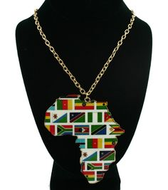Long Metal Bright Colored Africa Map Theme in/with Multi Color Gold Size : 4.25 inches tall pendant