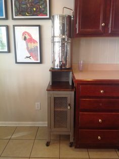 DIY Berkey Water Filter Stand With Storage Rustic Pie Cabinet. Copper Pipe  With Valve For