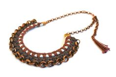 Statement Necklace, Tribal Bib, Crochet Jewelry, Dark grey brown copper chain