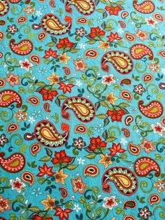 Paisley Fabric Cotton Print Flowers 3 Plus Yards Teal Poppy Olive