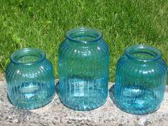 Jumbo Large Aqua Blue Mason Jars Candleholders Vases | Recycled Bride