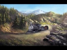 Train in the Mountains Part 1 | Oil Painting - YouTube
