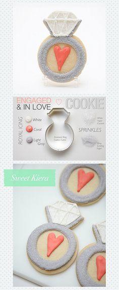 "Bridal Shower Cookies ""Engaged & In Love"" Diamond Rings"