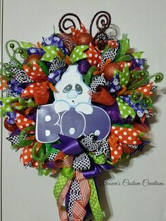 Ghost Wreath-Boo Wreath - Purple Orange Green Halloween Wreath- Halloween Deco…