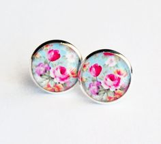 Rose Garden Resin Silver Post Earrings by MyBlossomCouture on Etsy