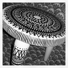 Upcycled little stool. Painted white with boho pattern drawn.  Happy to use it :)